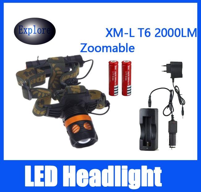 XML T6 LED Hiking Torch 2000 Lumens Boruit Head Lamp light Headlamp Headlight DC Car Charger
