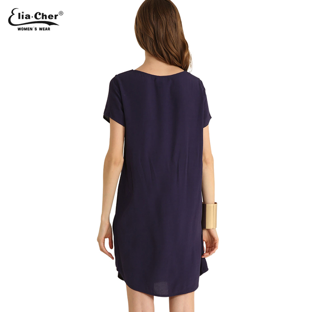 Summer Dress 2017 women dress Eliacher Brand Plus Size Casual Female clothing Solid and Loose dresses Short O-Neck