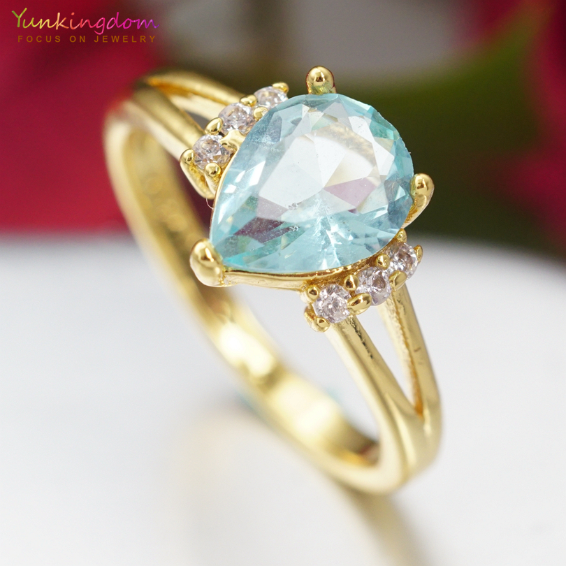 Wedding & Engagement Jewelry Engagement Rings The Cheapest Price Yunkingdom Fashion Water Drop Rings For Women Blue Cubic Zirconia Engagement Jewelry Wholesale/retail Ring Size 6 7 8 9 K2104