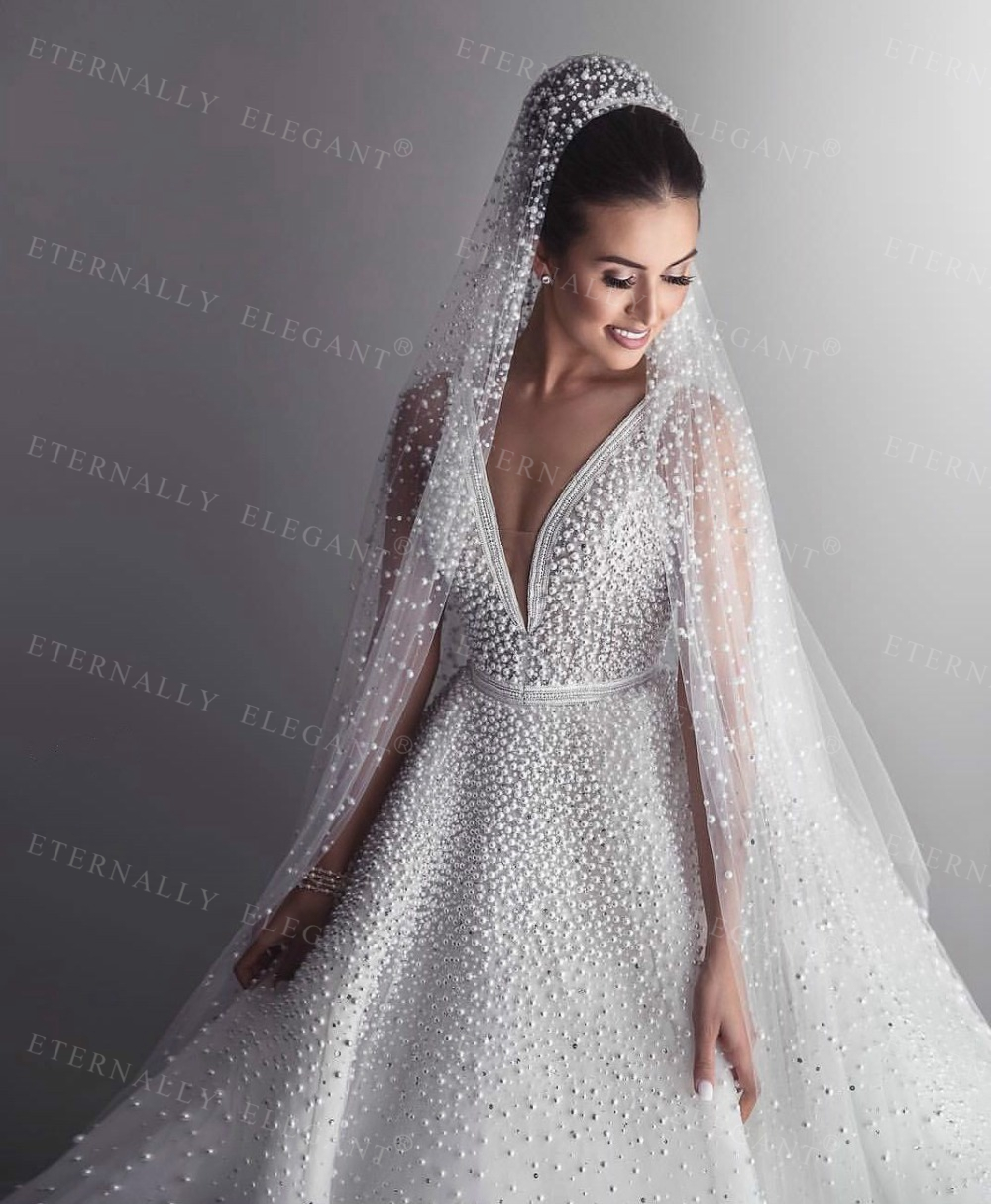 2018 Hot Sale 1 Tier 3M With Comb Cathedral Royal Pearl Wedding Veil  Bridal Veil With Pearl Ivory Veu de Noi  EE705