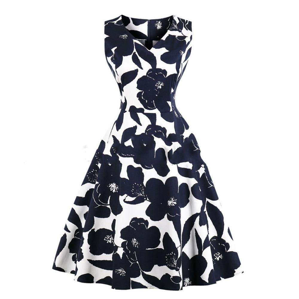 2018 New Summer Print Floral 50s 60s Retro Vintage Dress Plus Size  A-line V-Neck Elegant Swing Dress Retro Rockabilly Vestidos