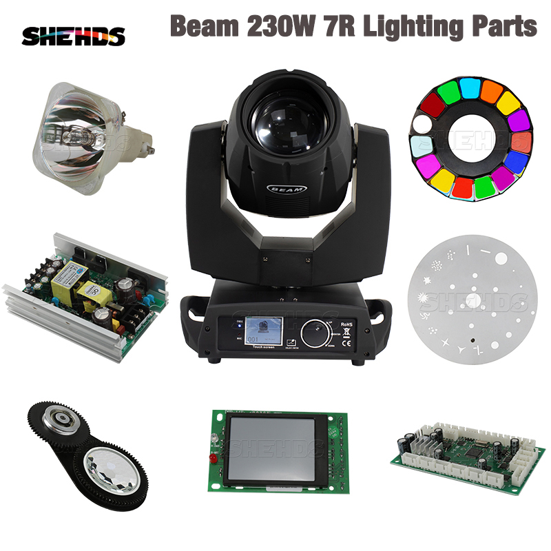 Beam 230W 7R Lighting Parts Lamp Control Board Power Supply Beenhive Prism Color Gobo Wheel Display