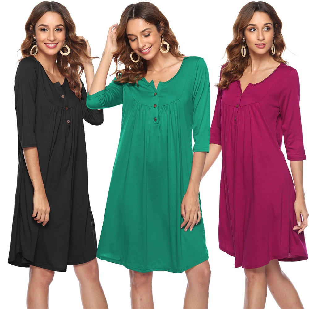 Buttons Pleated Three Quarter Sleeve Loose Dress 2019 Spring Women O Neck Solid Casual Knee Length Elegant Dress Female Vestidos