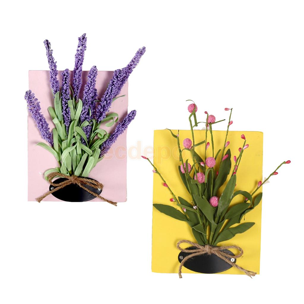 2 Pieces Artificial Flower Wall Hanging Plaque Sign Board Art Poster ...
