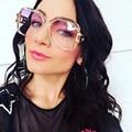 Sol Estrela Óculos De Sol Das Mulheres Designer de Marca de Luxo de Grandes Dimensões Homens Quadrados Óculos de Sol Pernas Liga Retro oculos de sol UV400 Sombra