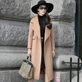New Arrive Spring And Autumn Europe and the United States Women's Handmade Coat Coat Long Pure Color Wool Coat