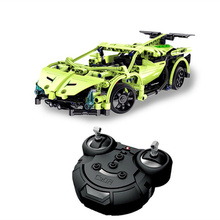 Funny Bricks Remote Building Block Car Armed Remote Control Green Sword Sports Car Cool Poison Modeling