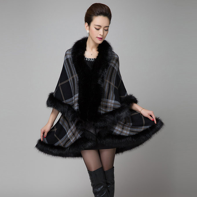 US $39 28 |womens capes and ponchoes new winter thick clothing Plus Size  women wrap wind sweaters warm wool Cape cardigan women coat long-in Cloak