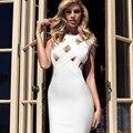 2017 Новая Коллекция Весна Женщины Dress Повязки Рукавов О-Образным Вырезом Sexy Выдалбливают Элегантная Дама Вечер Bodycon Sexy Dress Оптовая