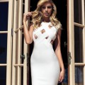2017 New Spring Women Dress Bandage Sleeveless O-Neck Sexy Hollow Out Elegant Lady Evening Party Bodycon Sexy Dress Wholesale