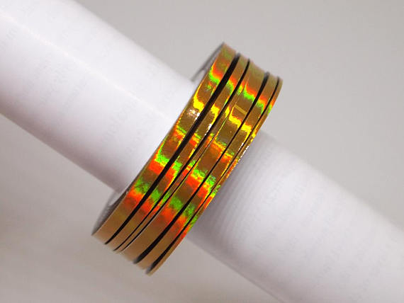 3 rolls of gold rainbow nail art striping tape 1mm 2mm and 3mm wide Holo nail striping tape Nail foil Nail art in Stickers Decals from Beauty Health