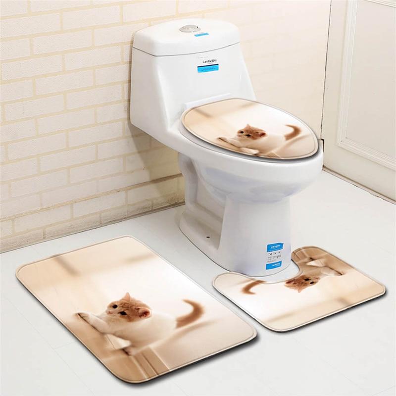 3 Pcs Anti Slip Mat Badezimmer Set Badezimmer Nette Katze Tier Print Non-slip Sockel Teppich + Deckel Wc Abdeckung + Bad Matte Set 2019 Letzter Stil