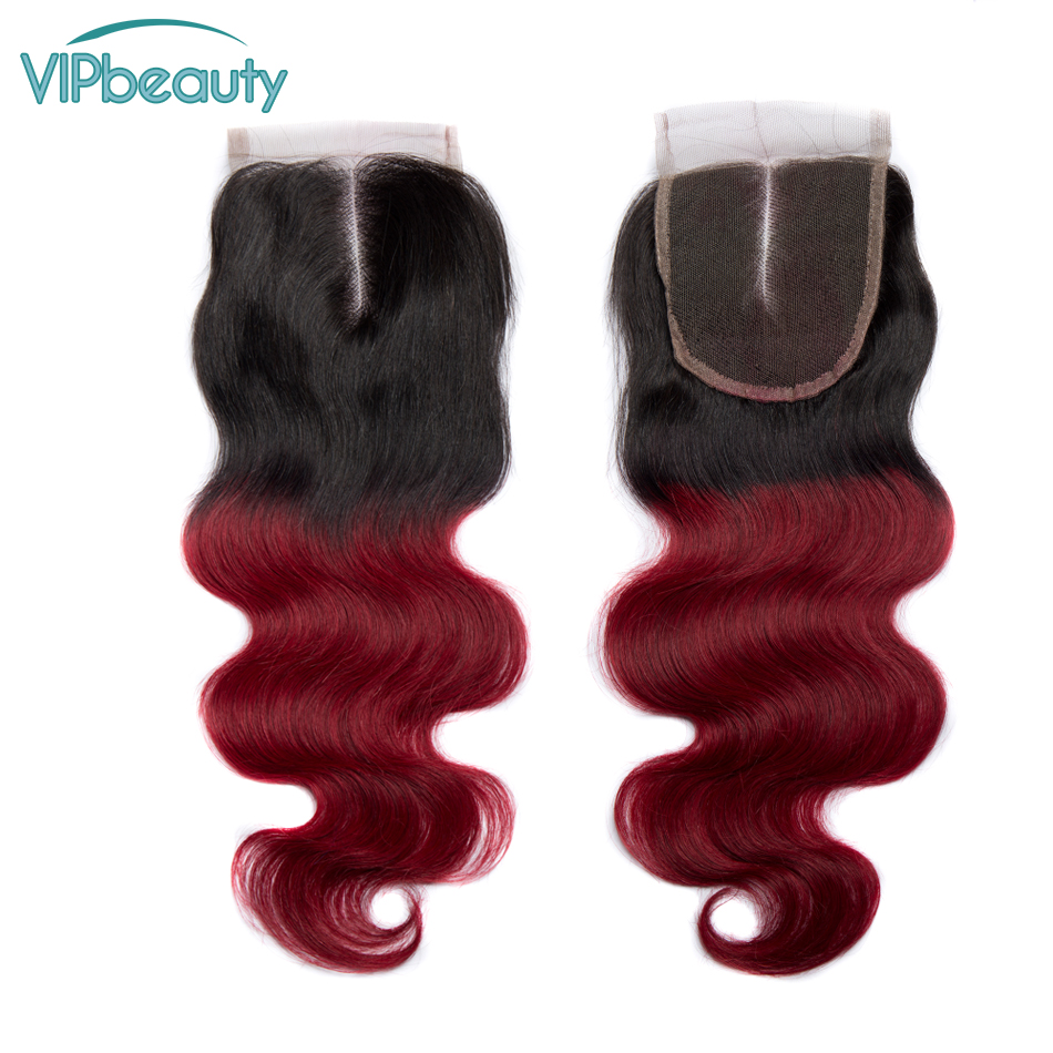 VIP beauty Remy Hair Body Wave Lace Closure 4 4 With Natural Baby Hair Ombre 1b