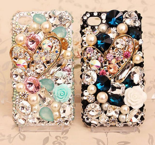 imágenes para Xingduo sparkling love heart gem bling crystal case cover para apple iphone 7 7 plus 6 6 s más 5 5S sí