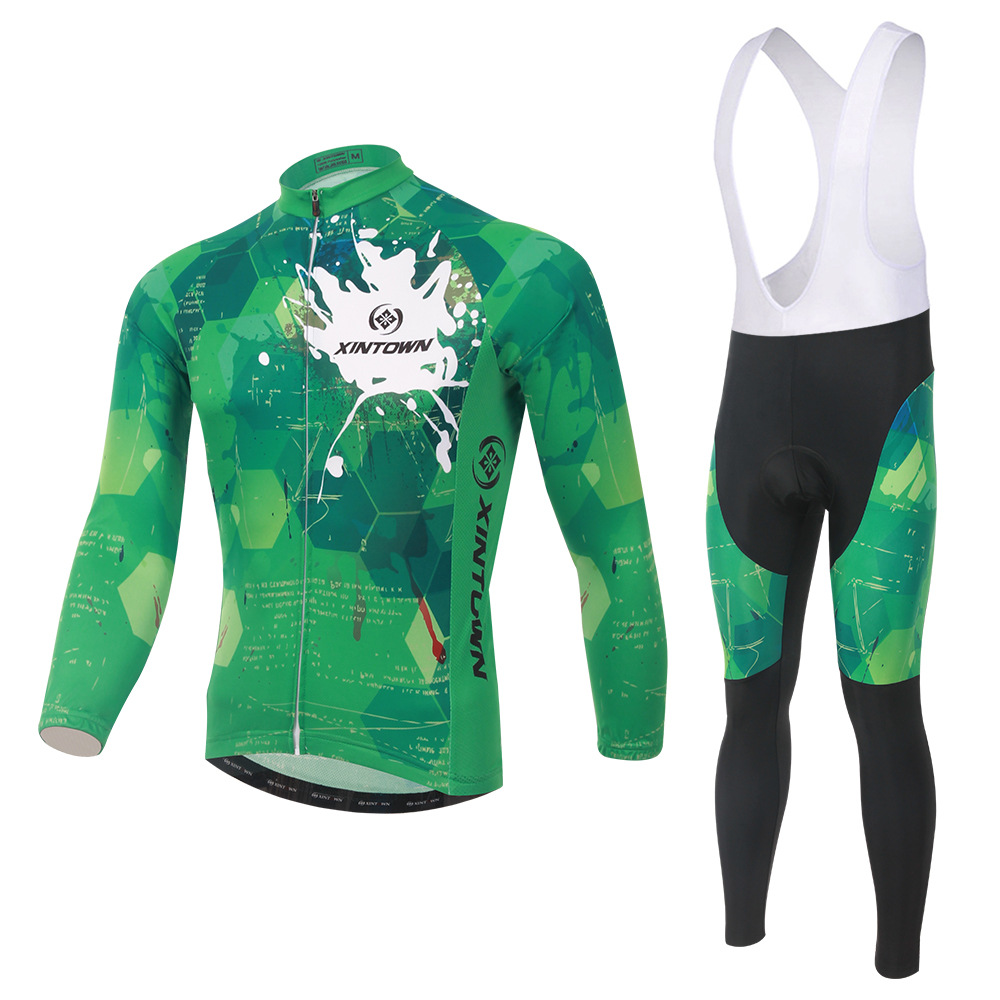 XINTOWN green hyun bike riding jersey long-sleeved suit wear bicycle suits fleece wind warm functional underwear