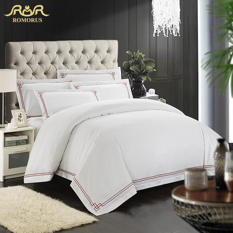romorus designer 100 cotton embroidered hotel bedding set white king queen size tribute silk. Black Bedroom Furniture Sets. Home Design Ideas