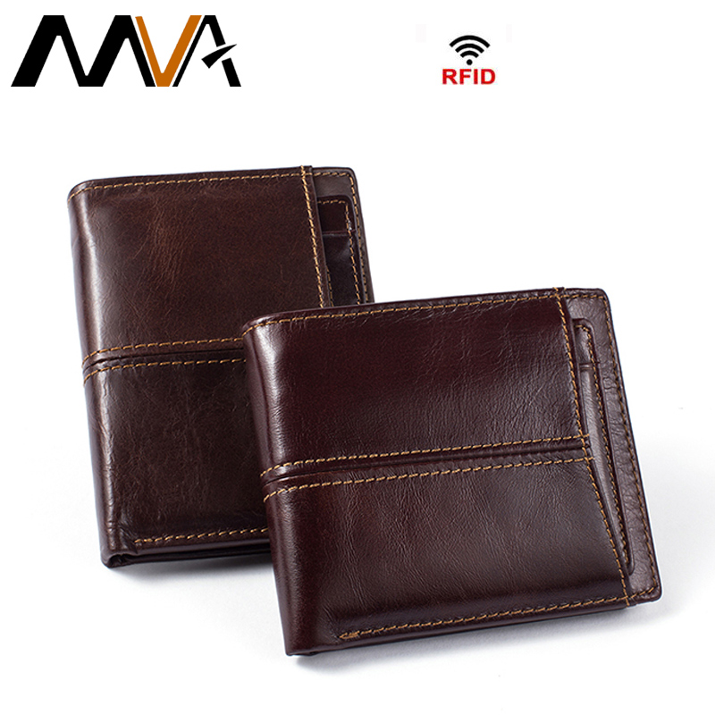 MVA RFID Men Wallets with Coin Pocket Zipper Genuine Leather Wallets Small Coin Purse Mens Leather Purses Photo Card Holder genuine leather mens wallet black hasp men purse with zipper coin pocket portfolio male short card holder vertical men wallets