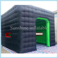 Fashionable advertising black inflatable cube tent with double layer for events party,inflatable marquee tent outdoor