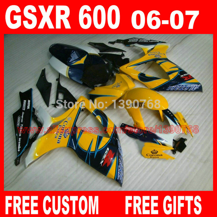 Motorcycle parts for SUZ UKI fairings GSXR600 GSXR 750 06 07 blue yellow Corona ABS fairing kit 2006 2007 gsxr600 gsxr750 K6 BH8 елена александровна власова ряды