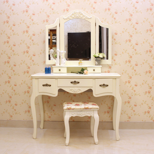 European Style Vanity Mirror Dressing Table Dresser Child Simple Modern  Fashion White Paint Dressing Tables