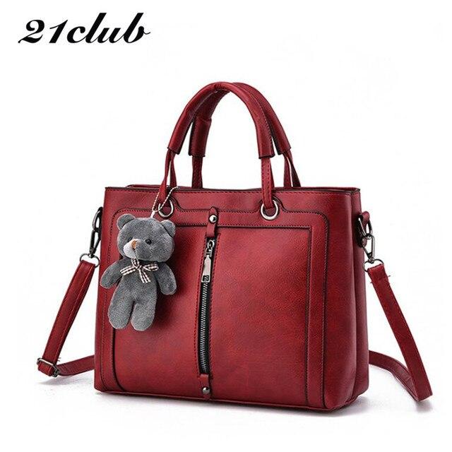 21 клуб марка средний большой емкости Женские сумки молния Медведь ремень темы шопинг Офис Женщины crossbody сумка сумки