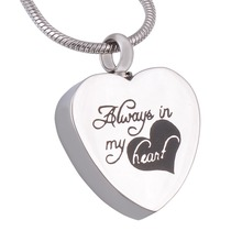 ФОТО always in my heart urn locket jewelry memorial cremation necklace stainless steel silver