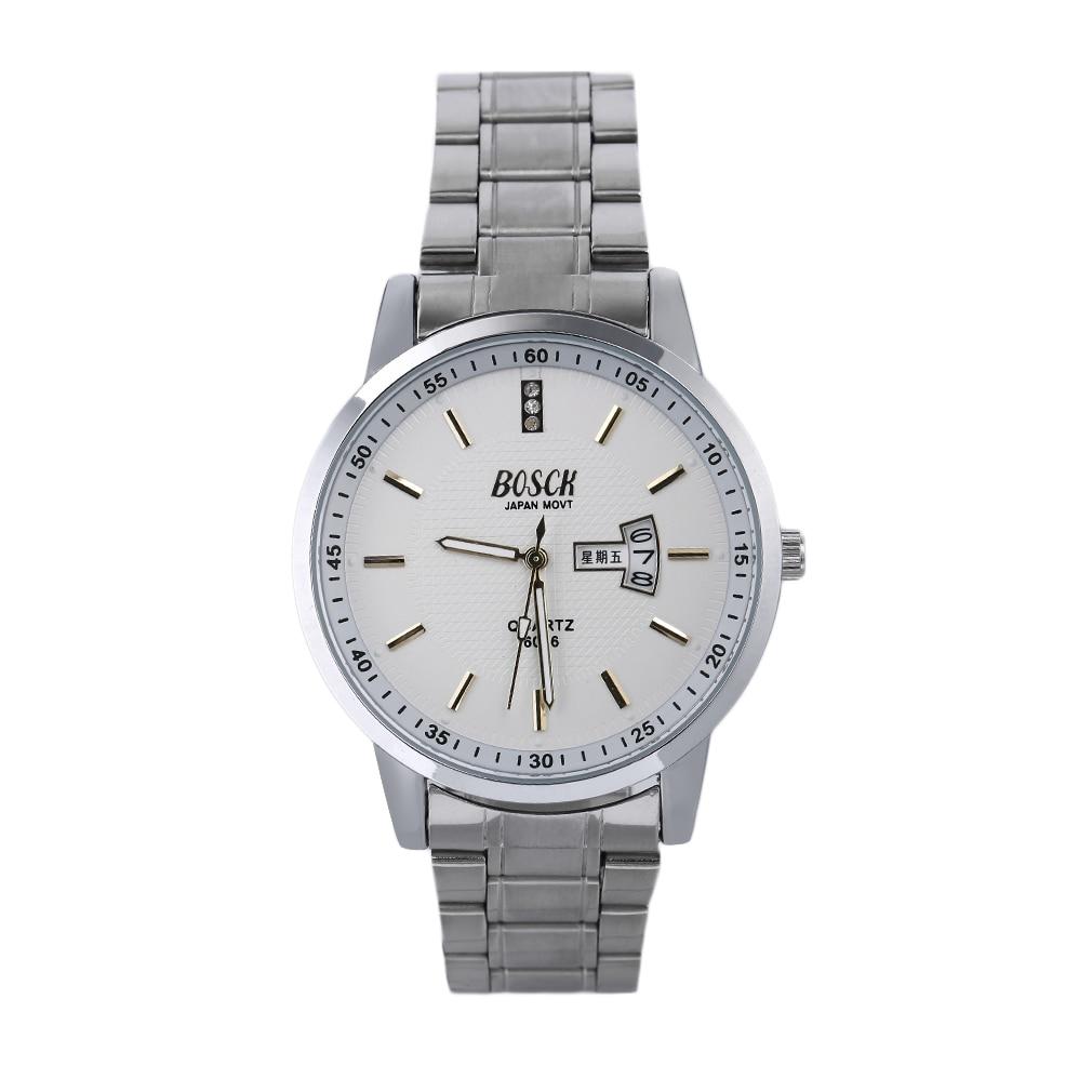 Luminous Waterproof Stainless Steel Watch Casual Double Calendar Watch BOSCK top quality фото
