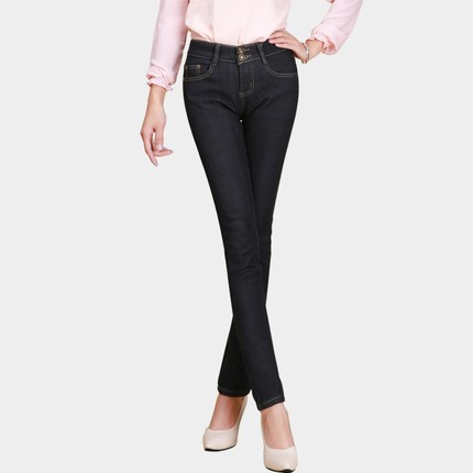 Autumn and winter plus thick velvet pants female jeans stretch pants feet Slim was thin pencil