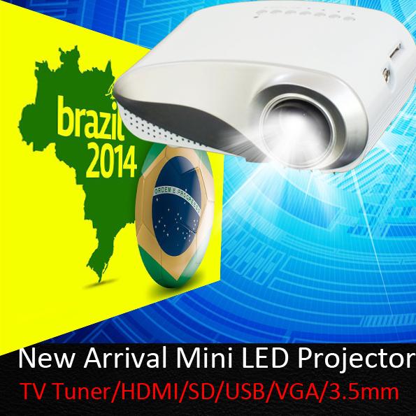 Digital Mini Proyector Proyector incorporado sintonizador de TV analógica llevó de vídeo USB HDMI VGA 3.5 mm Audio Proyector precio barato