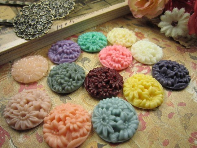 20MM resin cabochon beads flower for jewelry/mobilephone decoration DIY Accessories assorted colors 100pcs/lot