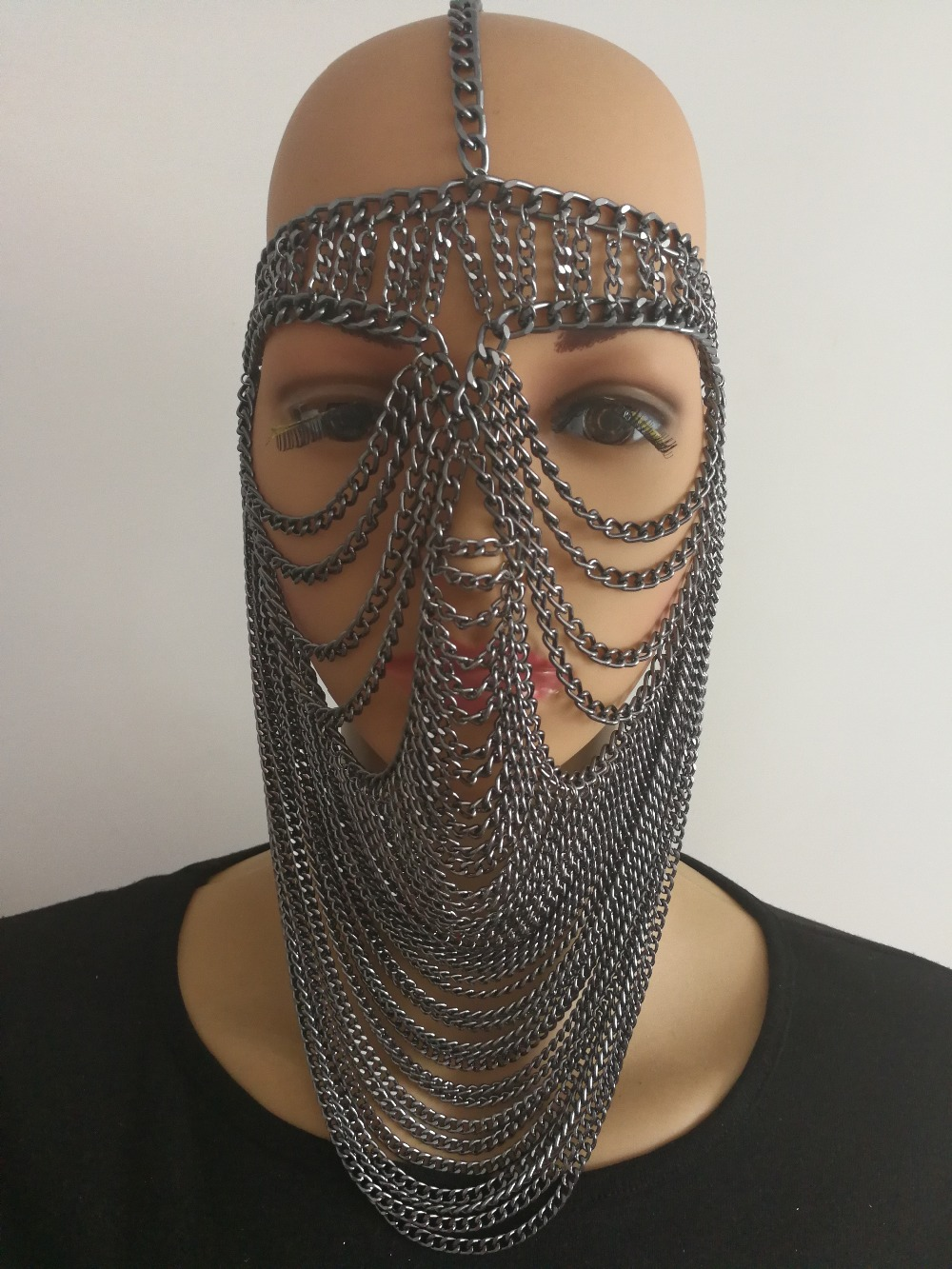 New Fashion Style WRB948 Women Harness Gray Chains Layers Mask Head Face Chains Jewelry Cosplay Face Chains Jewelry 3 Colors
