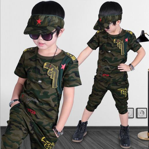 Toddler boy short sleeve tshirts pants camouflage shirt tee tops two piece set o neck mi ...