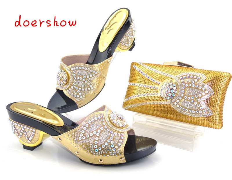 Best quality Italian ladies shoes and matching bag set newest pattern gold color African shoes and
