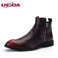 High Tops Flats Oxford Martin Ankle Boots For Men Genuine Leather Pointed Toe Shoes Brogues Zipper