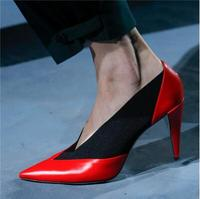 2019 Spring New Sexy Woman Sliver Black Red Pink Patchwork Pointed Toe V Shape Slip On 80 mm Spike Heels Party Pumps Big Size 43