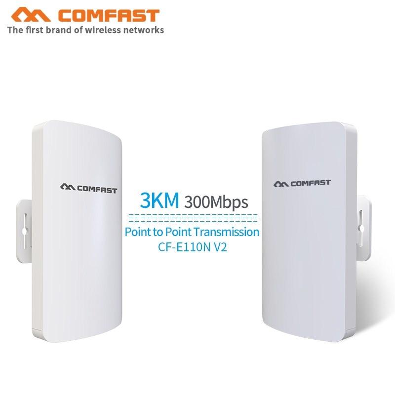 2 pièces En Plein Air Sans Fil WIFI Répéteur D'extension 2.4G 300 Mbps Extérieur MINI Routeur CPE Pont WiFi Point D'accès AP Routeur CF-E110NV2