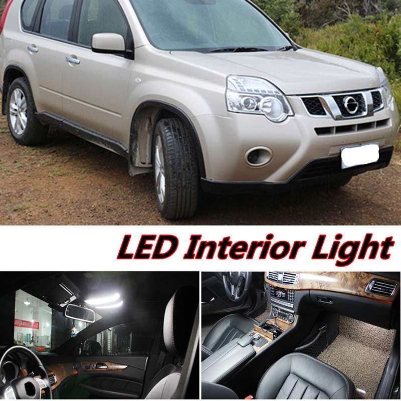 6pcs X free shipping Error Free LED Interior Light Kit Package for nissan X-Trail accessories 2011-2016 gear shift