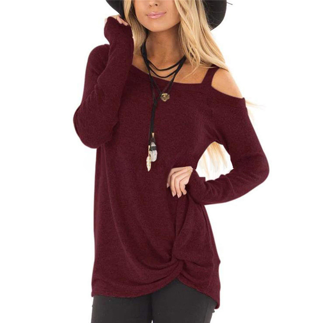 ad27f177d Women solid color loose Basic Tshirt Sexy Long Sleeves off One Shoulder  Twist Knot Front T