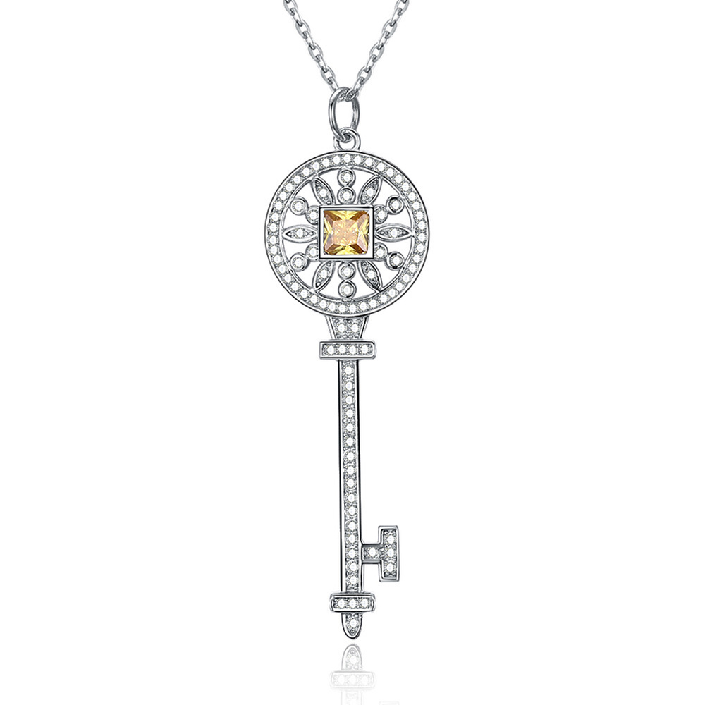 Sterling Silver 925 Zircon Key Pendant Diamond Necklace for Women European and American Classic style Accessories Fine Jewelry