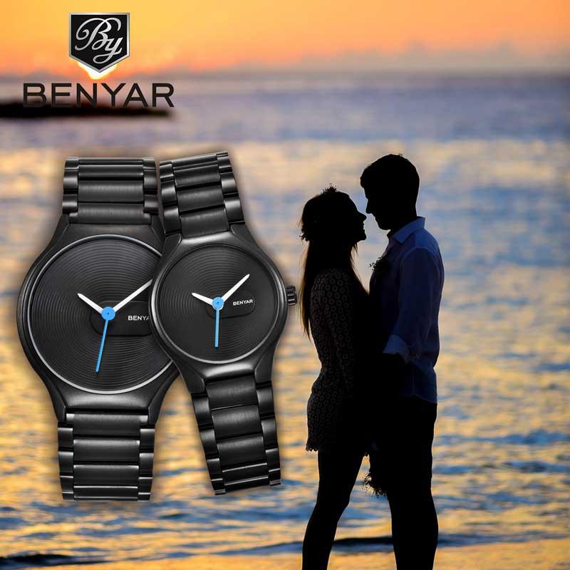 BENYAR Couple Watch Men's Watch Ladies Top Luxury Simple Quartz Watch Sports Waterproof Stainless Steel Clock Relogio Masculino