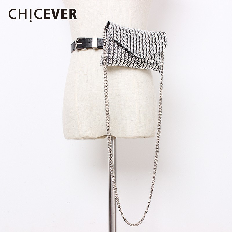 CHICEVER Summer Sequined Patchwork Belt For Women High Waist Dresses Accessories PU Belts Female 2019 Fashion New Tide