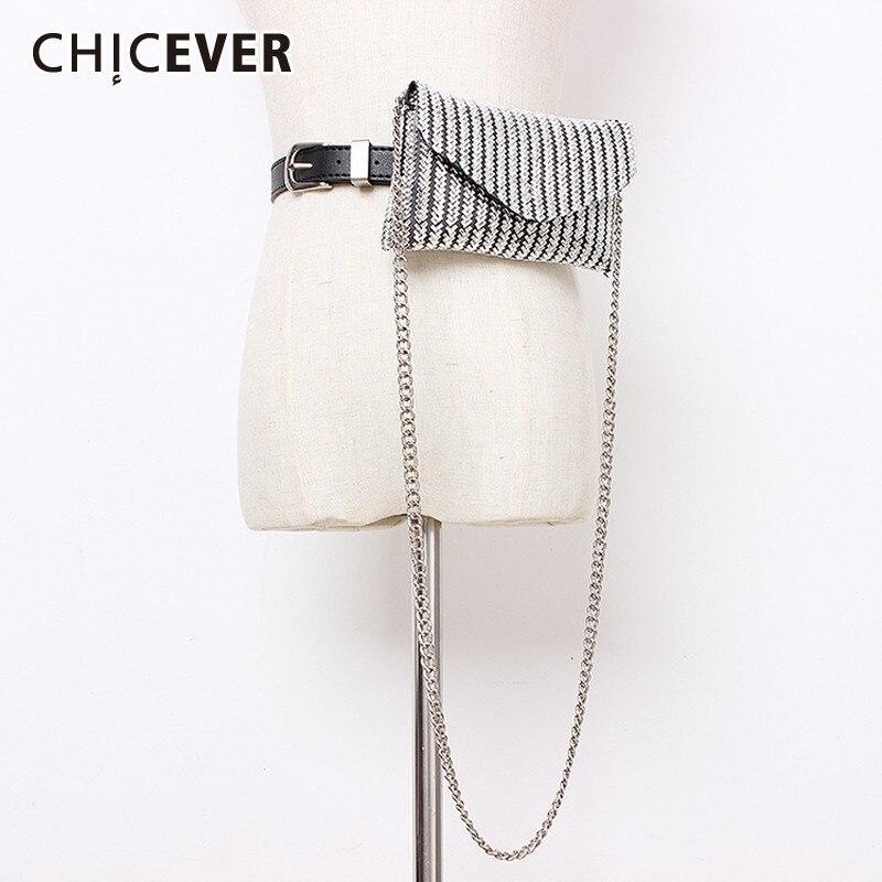 CHICEVER Summer Sequined Patchwork Belt For Women High Waist Dresses Accessories PU Belts Female 2020 Fashion New Tide