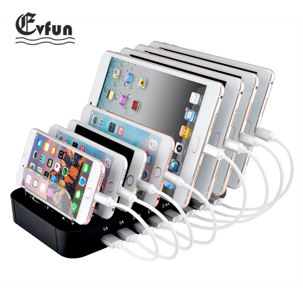 Evfun Desktop USB Charger Multi 8 Port Stand Docking 2.4A Universal USB Phone Charging Station For Mobile Phone iPhone Tablet