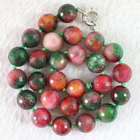 Newly rainbow color jades chalcedony 6-14mm new stone faceted round beads diy jewelry making necklace 18