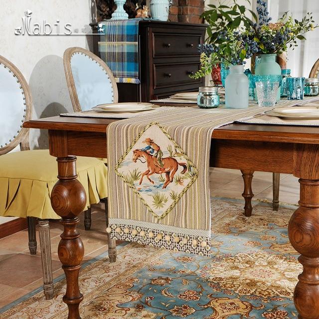 Apliques de rayas cubierta de tela camino de Mesa mesa de té redonda ...