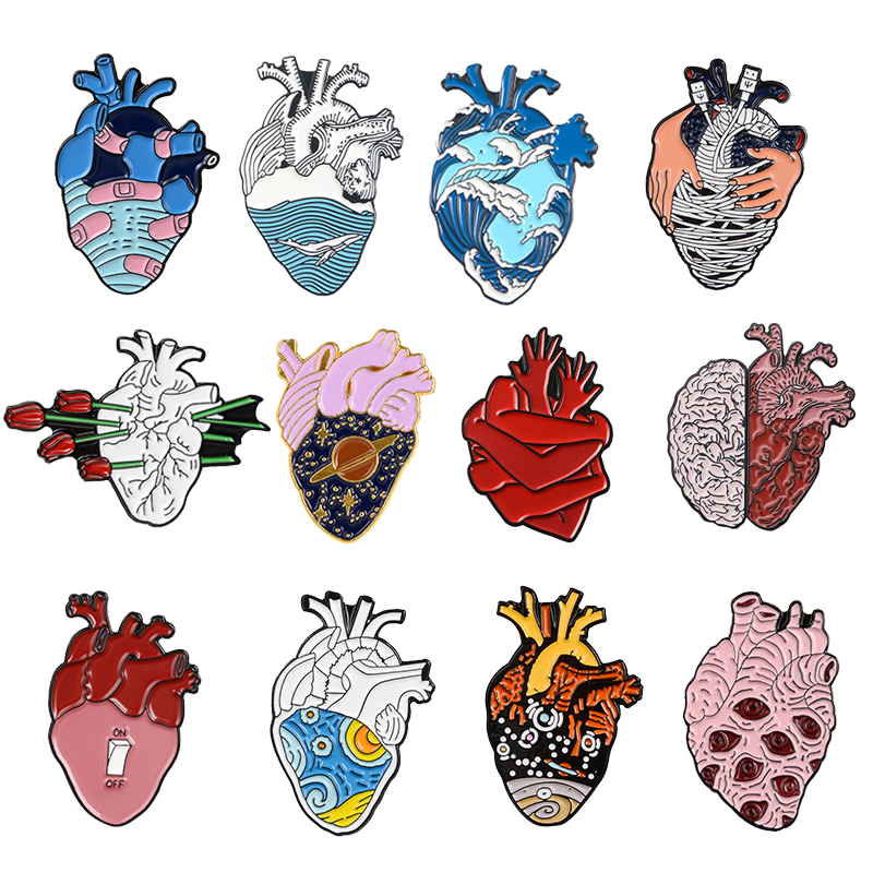 19style Anatomical Heart Enamel Pins Medical Anatomy Brooch Heart Neurology Pins For Doctor And Nurse Lapel Pin Bags Badge Gifts