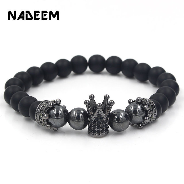 Natural Stone Beads Men Micro Pave CZ Crown Bracelets For Women Handmade Punk Yogi Elastic Bracelet Jewelry Pulseira hombres
