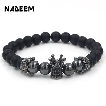 Natural Stone Beads Men Micro Pave CZ Crown Bracelets For Women Handmade Punk Yogi Elastic Bracelet Jewelry Pulseira hombres image