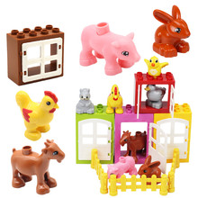 Large particles building blocks accessories farm animals Window compatible Duplos pig Birdie goat rabbit door frame  Toys gift
