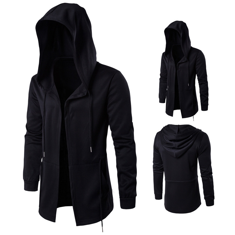 Men Windbreaker Jacket Punk Gothic Overcoat Cloak Men's Trench Coat Loose Casual Long Hooded Autumn Outwear